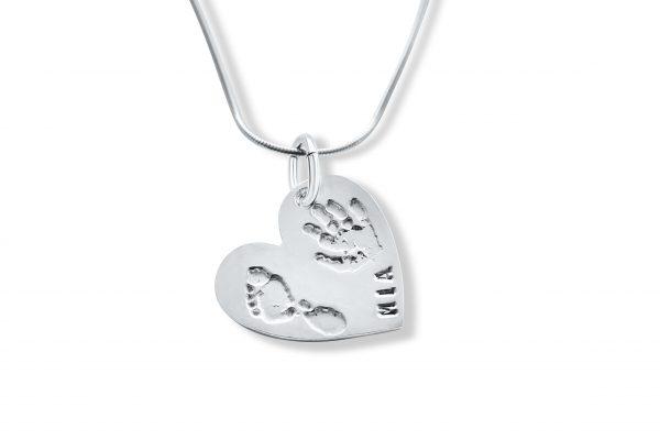 Heart Necklace with Footprint or Handprint