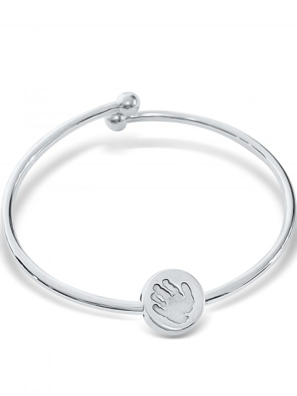 Ball end bracelet with handprint charm