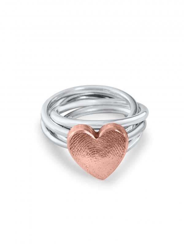 Love Heart Ring Fingerprint Copper Silver