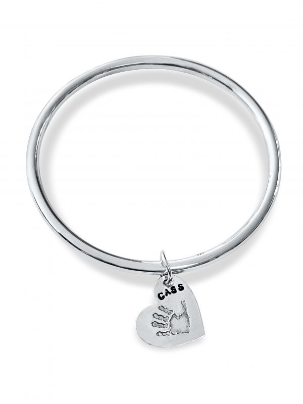 Silver Bangle with Handprint