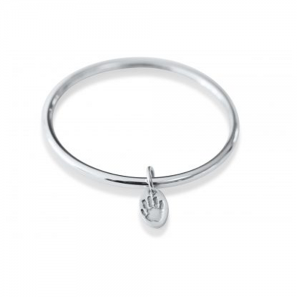 Silver Bangle Personalised with Handprint